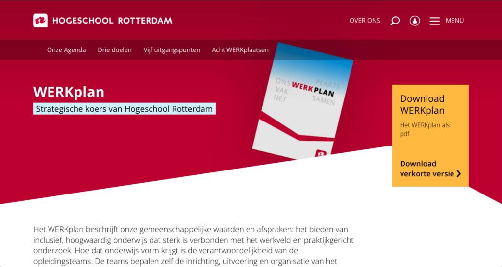 Screenshot van de website van het WERKplan van de Hogeschool Rotterdam