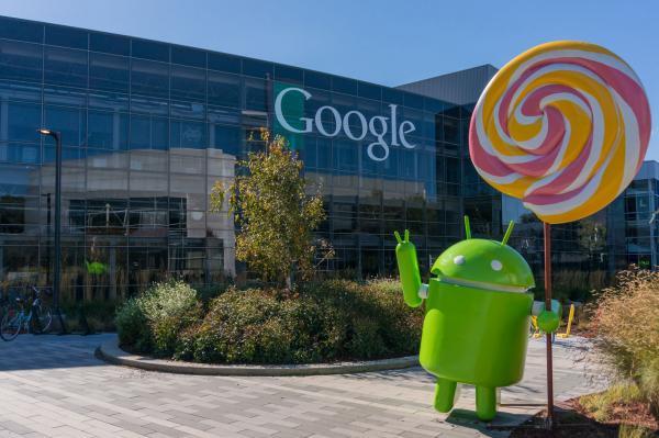 Hoofdkantoor van Google met Androidrobot